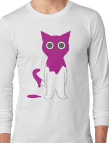 Cat Magenta Paint Spill Cartoon Graphic Vector Long Sleeve T-Shirt