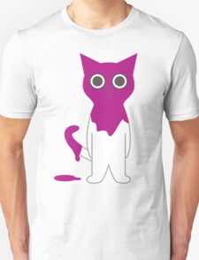 Cat Magenta Paint Spill Cartoon Graphic Vector Unisex T-Shirt