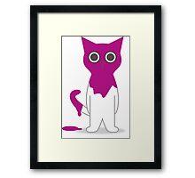Cat Magenta Paint Spill Cartoon Graphic Vector Framed Print