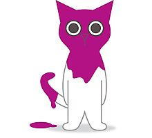 Cat Magenta Paint Spill Cartoon Graphic Vector Photographic Print