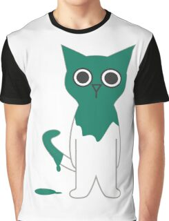 Cat Turquoise Paint Spill Cartoon Graphic Vector Graphic T-Shirt