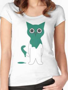 Cat Turquoise Paint Spill Cartoon Graphic Vector Women's Fitted Scoop T-Shirt