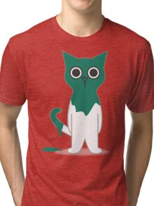 Cat Turquoise Paint Spill Cartoon Graphic Vector Tri-blend T-Shirt
