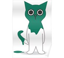 Cat Turquoise Paint Spill Cartoon Graphic Vector Poster
