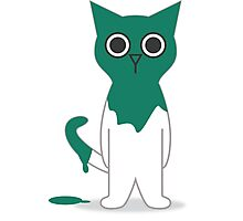 Cat Turquoise Paint Spill Cartoon Graphic Vector Photographic Print