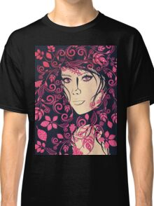 Autumn Girl with Floral Grunge 4 Classic T-Shirt