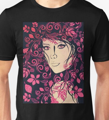 Autumn Girl with Floral Grunge 4 Unisex T-Shirt