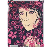 Autumn Girl with Floral Grunge 4 iPad Case/Skin