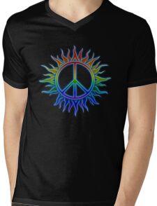 Peace Sign Sun Mens V-Neck T-Shirt