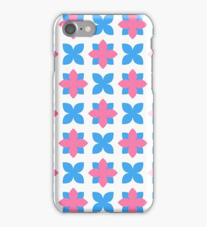 Blue and Pink Cross and Flowers Pattern iPhone Case/Skin