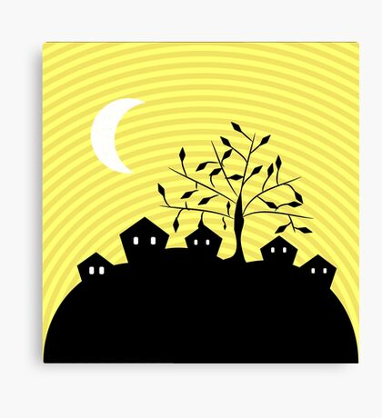 Quiet village at night Canvas Print
