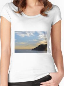 Sunset at the sea in Vernazza. Women's Fitted Scoop T-Shirt