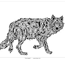 """""""Wolf Spirit"""" - surreal tribal totem animal by Leah McNeir"""