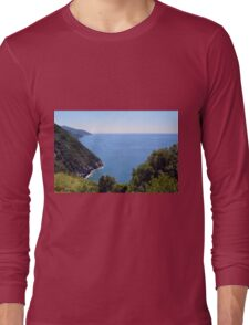 Natural landscape with the sea and hills in Vernazza. Long Sleeve T-Shirt