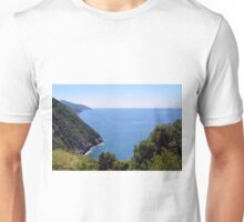 Natural landscape with the sea and hills in Vernazza. Unisex T-Shirt