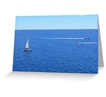 Sailing ships in the blue water of Portofino Greeting Card