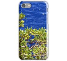 Green leaves tree and the blue sea iPhone Case/Skin