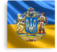 Ukraine: Proposed Greater Coat of Arms & Flag Canvas Print