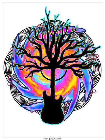 """""""Psychedelic Sonic Cyclone""""   ( surreal guitar art) by Leah McNeir"""