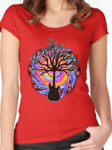 """""""Psychedelic Sonic Cyclone""""   ( surreal guitar tree art) Women's Fitted Scoop T-Shirt"""