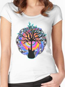 """Psychedelic Sonic Cyclone""   ( surreal guitar tree art) Women's Fitted Scoop T-Shirt"