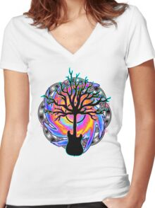 """Psychedelic Sonic Cyclone""   ( surreal guitar tree art) Women's Fitted V-Neck T-Shirt"