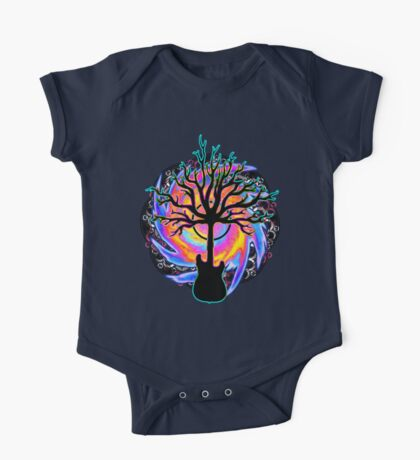 """""""Psychedelic Sonic Cyclone""""   ( surreal guitar tree art) One Piece - Short Sleeve"""