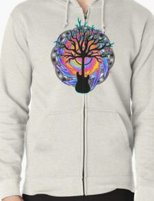 """""""Psychedelic Sonic Cyclone""""   ( surreal guitar tree art) Zipped Hoodie"""