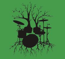 """""""Live the Beat to the Tempo of Creation"""" ~ drum tree art, version2 Kids Clothes"""