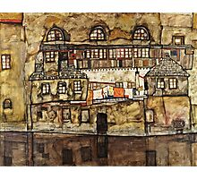 Egon Schiele - House Wall on the River (1915)  Photographic Print