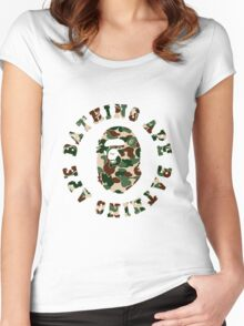 a bathing ape army Women's Fitted Scoop T-Shirt