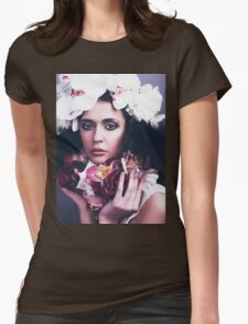 Beautiful Girl with Flowers Womens Fitted T-Shirt