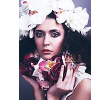 Beautiful Girl with Flowers Photographic Print