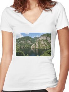 Rough Limestone - a Peaceful Lake in the Mountains Women's Fitted V-Neck T-Shirt
