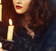 Gothic woman with candles Sticker