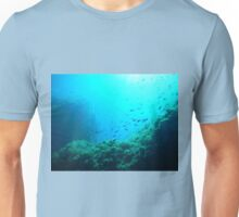 Diving fishes sea corals blue water Unisex T-Shirt