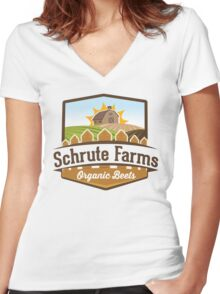 Schrute Farms - Organic Beets - The Office TV Show / Dwight Schrute Inspired Design Women's Fitted V-Neck T-Shirt