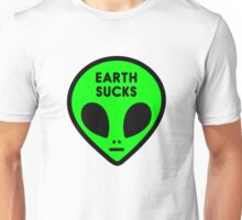 "Cute Funny Neon Green Space Alien Head ""Earth Sucks"" Unisex T-Shirt"