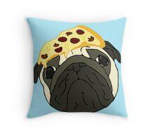 pizza pug Throw Pillow