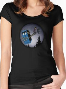 Fourth Doctor Fly With Bicycle Women's Fitted Scoop T-Shirt