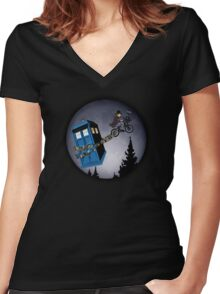 Fourth Doctor Fly With Bicycle Women's Fitted V-Neck T-Shirt