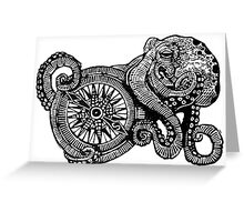 Octopus and ship's compass Greeting Card