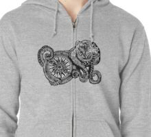 Octopus and ship's compass Zipped Hoodie