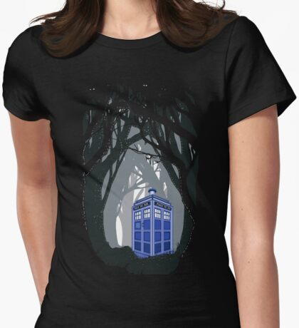 Space And Time traveller Box lost in the woods Womens Fitted T-Shirt