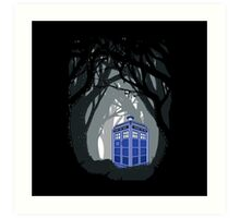 Space And Time traveller Box lost in the woods Art Print