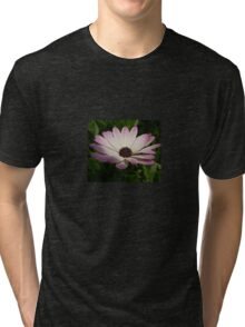 Side View of A Pink and White Osteospermum Tri-blend T-Shirt
