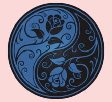 Blue and Black Yin Yang Roses One Piece - Short Sleeve