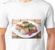 Plate with fried meatballs minced chicken with red pepper Unisex T-Shirt