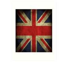 Antique Faded Union Jack UK British Flag Art Print