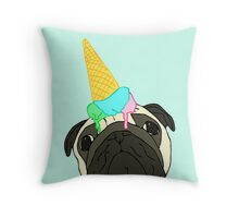 dropped ice cream pug Throw Pillow